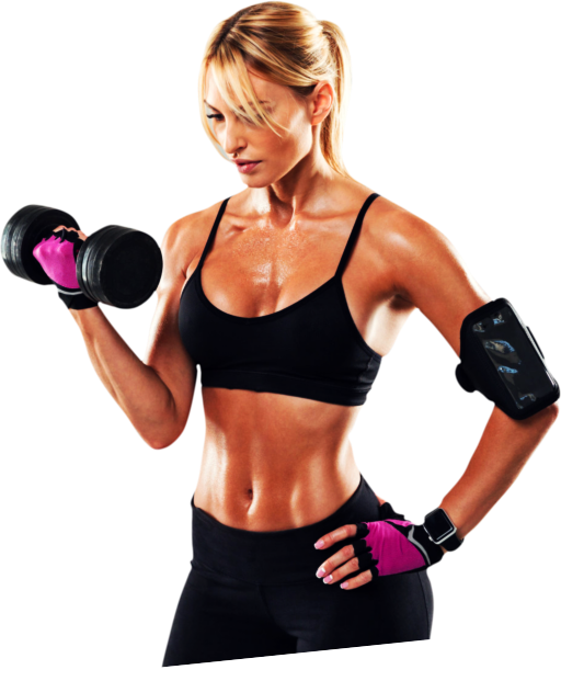 fit woman lifting a dumbell